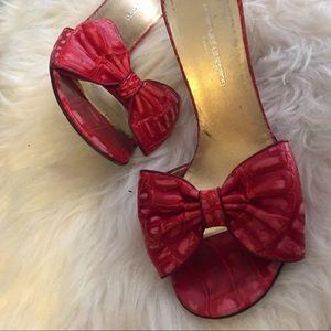 Emanuel Ungaro Crocodile Stiletto Heel Red Sandals